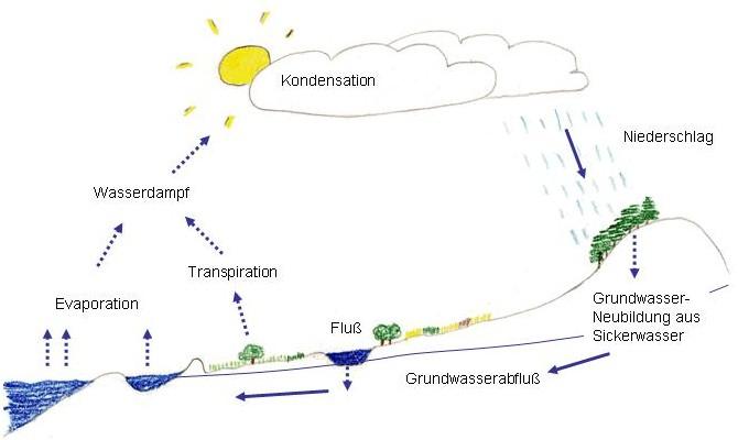 Schema des Wasserkreislaufs